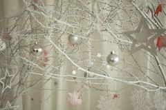 White winter forest with toys royalty free stock photo