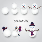 White winter happy snowman building Stock Photos