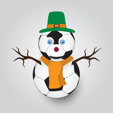 white winter happy snowman from football balls eps10 Stock Photo