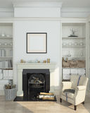 White winter interior,fireplace, books. 3d render Royalty Free Stock Images