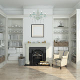 White winter interior,fireplace, books. 3d render Stock Image