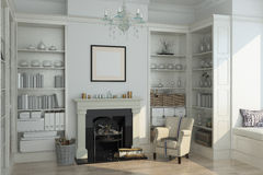 White winter interior,fireplace, books. 3d render Stock Photo