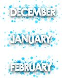 Winter January, February, December banners. White winter January, February, December banners with blue snowflakes. Vector illustration Royalty Free Stock Image