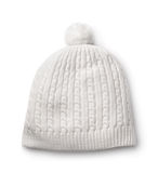 White winter knitted cap. Isolated on white royalty free stock photo