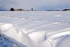 White winter landscape of field with farm Royalty Free Stock Photos