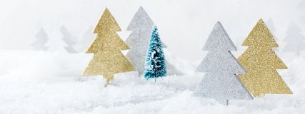 White winter snow christmas forest for greeting card. New year holiday concept. White winter snow christmas forest for greeting card. Copy space background Royalty Free Stock Photo
