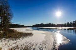 White winter on Swedish lake Royalty Free Stock Image
