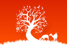 White winter trees. Illustration of a christmas tree decorated with christmas and seasonal elements stock illustration