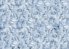 White wintry hoarfrost on window glass Royalty Free Stock Photos