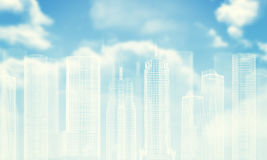 White wire-frame buildings. Bly sky with clouds Royalty Free Stock Image