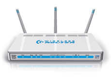 White wireless ADSL router Stock Photos