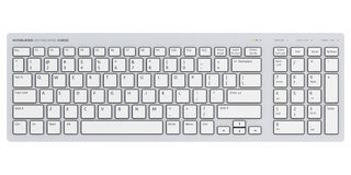 White wireless computer PC keyboard. Creative abstract digital peripheral technology business concept: 3D render illustration of the white wireless computer PC Stock Image