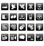 White wireless icons on black squares Royalty Free Stock Images