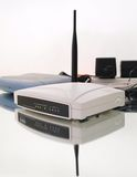 White Wireless Router Composition. With blue modem stock photography
