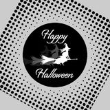 White Witch on Black Moon in Retro Style Royalty Free Stock Images