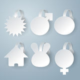 White wobbler set on gray background set. Stock Photo