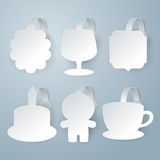 White wobbler set on gray background set. Royalty Free Stock Image