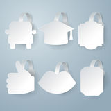 White wobbler set on gray background set. Royalty Free Stock Photo