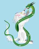 White wolf and snake. Royalty Free Stock Photos