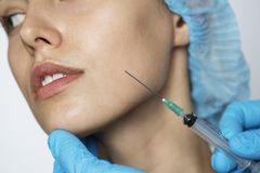 White woman aesthetic and cosmetic surgery concept Stock Images