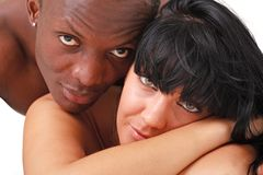 White woman and black man Stock Photos