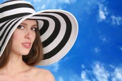 White woman on the blue Royalty Free Stock Photos