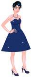 White Woman Blue Sparkle Dress Royalty Free Stock Photo