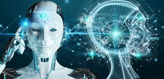 White woman cyborg creating artificial intelligence 3D rendering. White woman cyborg on blurred background creating artificial intelligence 3D rendering