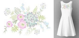 White woman dress 3d realistic mock up floral embroidery fashion decoration. Flower succulent ranunculus eucalyptus patch neckline Stock Photos