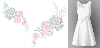 White woman dress 3d realistic mock up floral embroidery fashion decoration. Flower succulent ranunculus eucalyptus patch neckline. Print textile  illustration Royalty Free Stock Photo