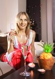 White woman with glass of champagne Royalty Free Stock Images
