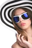 White woman in hat Stock Photography