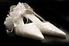 White Woman High Heel Shoes on black background Royalty Free Stock Photos