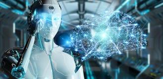 White woman humanoid creating artificial intelligence 3D renderi. White woman humanoid on blurred background creating artificial intelligence 3D rendering Royalty Free Stock Photo