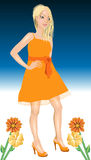 White Woman Orange Dress Royalty Free Stock Image