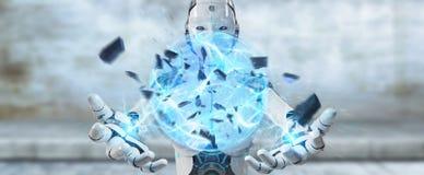 White woman robot creating energy ball 3D rendering. White woman robot on blurred background creating energy ball 3D rendering Stock Photo