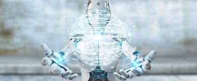 White woman robot using digital globe hud interface 3D rendering. White woman robot on blurred background using digital globe hud interface 3D rendering Stock Image