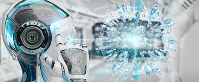White woman robot using digital globe to connect people 3D rende. White woman robot on blurred background using digital globe to connect people 3D rendering Royalty Free Stock Images