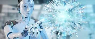 White woman robot using digital globe to connect people 3D rende. White woman robot on blurred background using digital globe to connect people 3D rendering Royalty Free Stock Photography