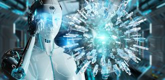 White woman robot using digital globe to connect people 3D rende. White woman robot on blurred background using digital globe to connect people 3D rendering Stock Photo