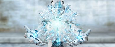 White woman robot using digital globe to connect people 3D rende. White woman robot on blurred background using digital globe to connect people 3D rendering Stock Photography