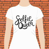 White Woman Shirt with Selfie Queen Texts Print Stock Photo