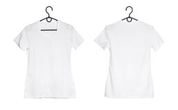 White woman t-shirt on hanger Royalty Free Stock Images