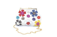 White Women purse with flowers Royalty Free Stock Image