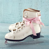White women's ice skates Stock Images