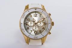 White women`s watch with chronometer stock photos