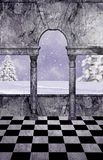 White Wonderland Balcony. A balcony overlooking a pastel snow scene and winter setting Royalty Free Stock Images