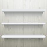 White wood background shelves Stock Photography