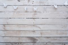 Background White wood with butterflies stock images