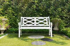 White wood bench chair with bush Background in garden at home. Stock Image